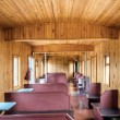 Stock Photo: Wooden interior of old russirail car