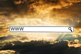 Search line against dramatic orange sky — Stock Photo