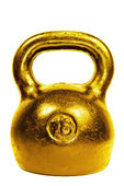 Golden 16 kg kettle bel — Stock Photo