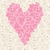 Pink heart consisting of roses with flower background — Stock Photo