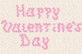 """""""Happy vilentine's day"""" text typed by pink rose flowers — Stock Photo"""
