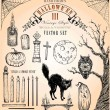 Vector de stock : Vintage Style Halloween Vector Set III