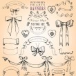 Vintage Style Hearts, Banners and Bows Vector Set — Stock Vector #13259814