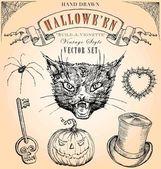Vintage Style Halloween Vector Set — Stock Vector