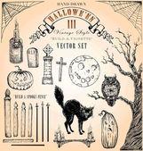 Vintage-stil halloween vektor set iii — Stockvektor