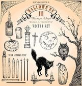 Vintage Style Halloween Vector Set III — Stock Vector