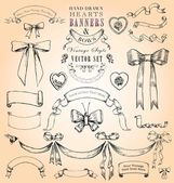 Vintage Style Hearts, Banners and Bows Vector Set — Stock Vector