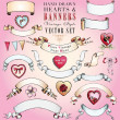 Royalty-Free Stock Vector Image: Hand-Drawn Hearts and Banners