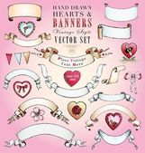 Hand-Drawn Hearts and Banners — Stock Vector