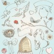Hand Drawn Vintage Spring Elements Vector Set - Stok Vektr