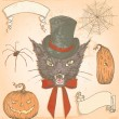 Hand Drawn Vintage Halloween Creepy Cat Vector Set — Stock Vector