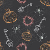 Hand Drawn Vintage Halloween Seamless Pattern — Cтоковый вектор