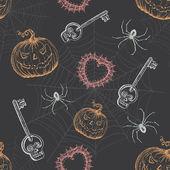 Mão desenhada vintage padrão sem emenda de halloween — Vetorial Stock