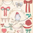 Hand Drawn Vintage Holiday Bird, Ribbons and Bows Vector Set — Stock Vector #27681475