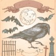 Hand Drawn Vintage Halloween Spooky Crow Vector Set — Stockvektor