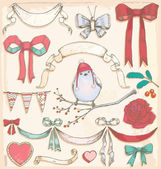 Hand Drawn Vintage Holiday Bird, Ribbons and Bows Vector Set — Stock Vector