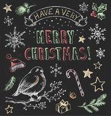 Vintage Christmas Chalkboard Hand Drawn Vector Set — Stock Vector
