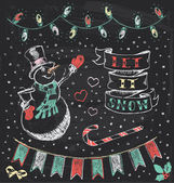 Vintage Christmas Chalkboard Hand Drawn Vector Set 3 — Stock Vector