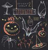 Vintage Chalkboard Halloween Hand Drawn Vector Set 2 — Stock Vector