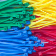 Assortment of colorful plastic cable ties (zip ties, tie-wraps) — Stock Photo #13400311