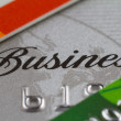 Stock Photo: Credit cards with word business and numbers close up, selective
