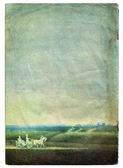 Field sky and carriage landscape grunge paper cover with age mar — Stock Photo