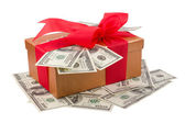 Best holiday bonus - single brown gift box with red ribbon and d — Stock Photo