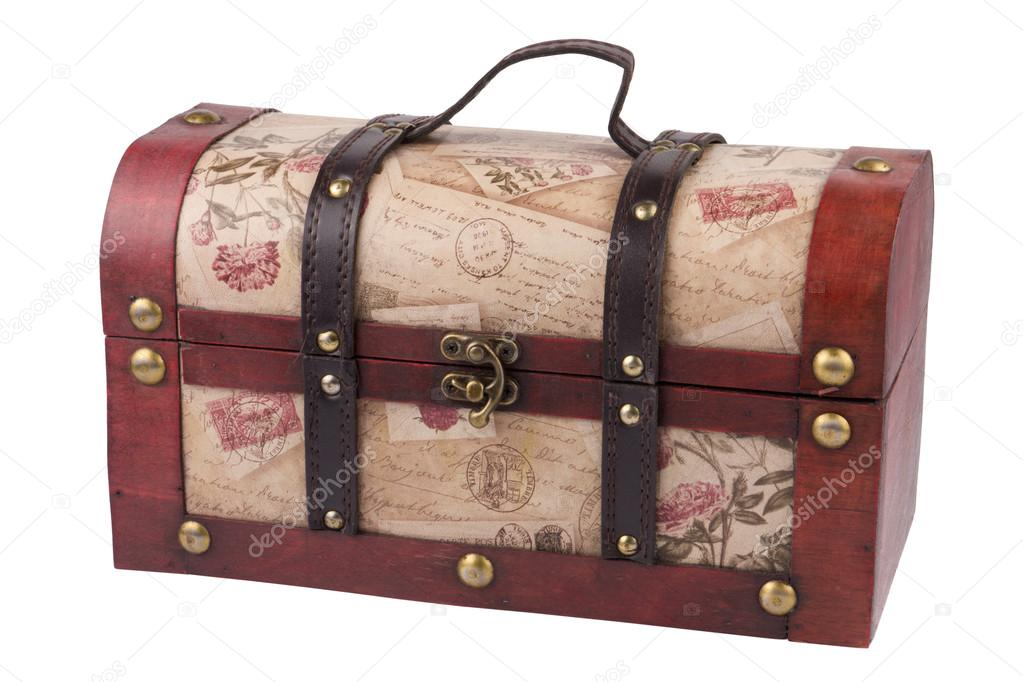 Vintage wooden treasure chest isolated over white background — Stock Photo #13431804