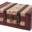 Vintage wooden treasure chest isolated over white background — Stock Photo #13473733