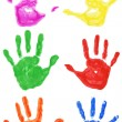 Stock Photo: Set of colorful hand printsisolated on white background