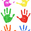 Set of colorful hand printsisolated on white background — Stock Photo