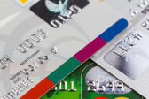 Set of color credit cards, selective focus — Stock Photo