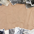 Stock Photo: Frame made of old photos crumpled packaging brown paper backgrou