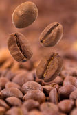 Closeup of coffee beans flying selective focus — Stock Photo