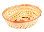 Empty wicker basket isolated on white background — Stock Photo