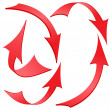 Set of Red Twisted Arrow Stickers, Vector Illustration — Stock Photo #29966789