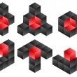 3d Cube Logo Icon Design Set, Vector Illustration — Stock Photo