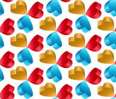 3D Flying Heart Abstract Vector Seamless Pattern. — 图库照片