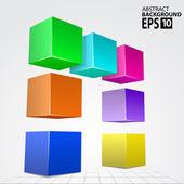 Arco de cubo colorido 3d, ilustração de fundo abstrato vector. — Foto Stock