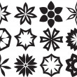 Stock Photo: Collection of 12 Different Stylistic Flowers, Black and White Ve