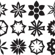 Collection of 12 Different Stylistic Flowers, Black and White Ve — Stock Photo