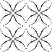 Halftone Black and White Abstract Flowers Geometric Vector Seaml — Stockvektor