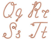 Q, R, S, T Vector Letters Made of Metal Copper Wire, Modern US E — Stock vektor
