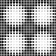 Halftone Black and White Abstract Geometric Vector Seamless Patt — Stock Photo
