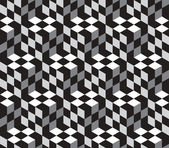 Black and White Cubes Optical Illustion Vector Seamless Pattern — Stock Vector