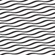 Horizontal Waves, Black and White Optical Illusion, Vector Seaml — Stock Vector