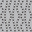 Stock Vector: Black and White Twisted Ribbon, Vectro Seamless Pattern.