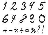 Vector Font Handwritten by Toddler, Arabic Numerals Set. — Stock Vector