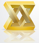 Impossible Figure Golden Icon Sign, Infinity Concept, Abstract Vector Illustration. — Stock Vector