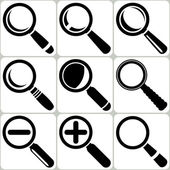 Vector Magnifier Glass Search Find Lupe Zoom Icons — Stock Vector